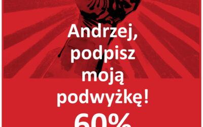 Pierwsze nasze billboardy na ulicach Warszawy. Andrzej, podpisz moją podwyżkę! 60%
